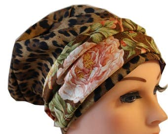 Scrub Hat Cap Chemo Bad Hair Day Hat  European BOHO Banded Pixie Tie Back Animal Print with Floral Band 2nd Item Ships FREE
