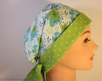 Scrub Hat Medical Surgical  Cap Chemo Chef Nurse Doctor Hat Tie Back Front Fold Pixie Teal Floral Lime Dot 2nd Item Ships FREE