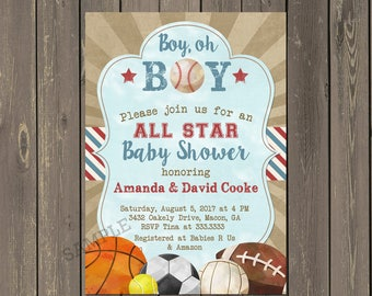 Sports Baby Shower Invitation, Little All-Star Baby Shower Invitations, Baseball Shower Invitations, Baby Boy Shower, Printable or Printed