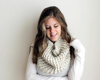 SALE Knit Scarf Cowl Knitted Infinity Wheat - Sotterley Cowl