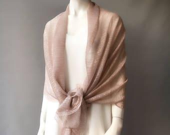 Salmon Pink Wedding Shawl, Gold Bridal Shaw, Bridesmaid Shawl, Bridal Scarf, Evening Wrap, Gift for Her, Glossy Shawl