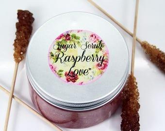 """Sugar Scrub """"Raspberry Love"""", sugar scrub, body scrub, sugar body scrub, raspberry sugar scrub"""