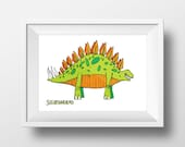 Stegosaurus Print - Dinosaur Art - Wall Decor - Childrens Bedroom Art - Poster - Stegosaurus