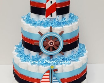 Nautical Diaper Cake Baby Shower Centerpiece