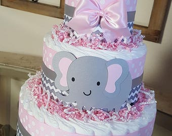 3 Tier Pink & Gray Elephant  Diaper Cake,  Baby Girl Shower Centerpice, Grey Chevron Decoration
