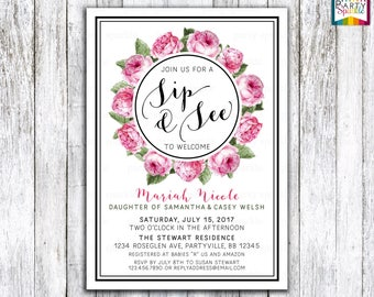 Pink and black Floral Baby Girl Sip and See Invitation Digital Adoption Meet and Greet Bouquet Invites- Printable 4x6 or 5x7 jpg or pdf