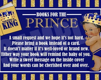 Baby Prince Bring a Book Insert, Royal Baby Shower Book Request, Instant Download - Digital File