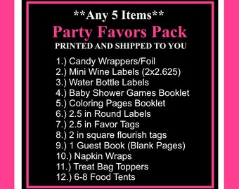 Printed Party Favors Package-Pick 5