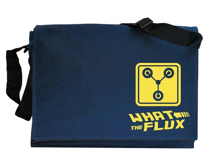 Flux Capacitor Slogan Navy Blue Messenger Shoulder Bag