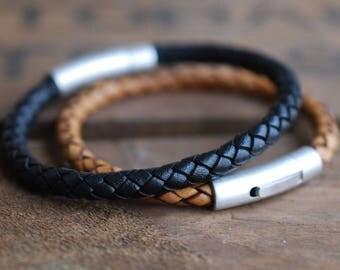 Men's black braided leather bracelet stainless steel closure