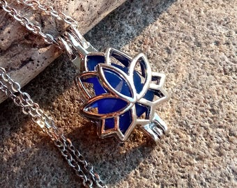 Blue Sea Glass Jewelry Necklace Cage Locket Genuine Surf Tumbled Casual Boho Beach Day Bright Free Shipping Lotus Flower Buddha