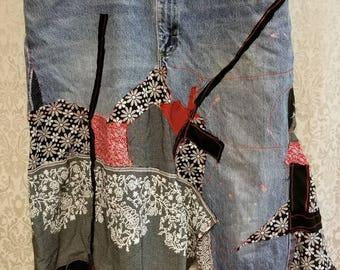 Gypsy Boho Hippie Womens Denim Upcycled Reconstructed Skirt