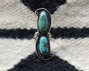 Big Turquoise and Sterling Silver Navajo Ring Size 8