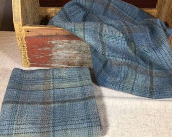 Larkspur Blue Plaid, Hand-Dyed Wool Fabric for Rug Hooking, Applique, Penny Rugs, Fiber Arts,Fat Quarter Yard W289