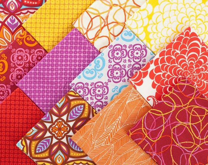 Pomegranate Colorstory  5 x 5 Pack - 42 5-inch Squares Charm Pack Valore Wells for Robert Kaufman - Retired collection