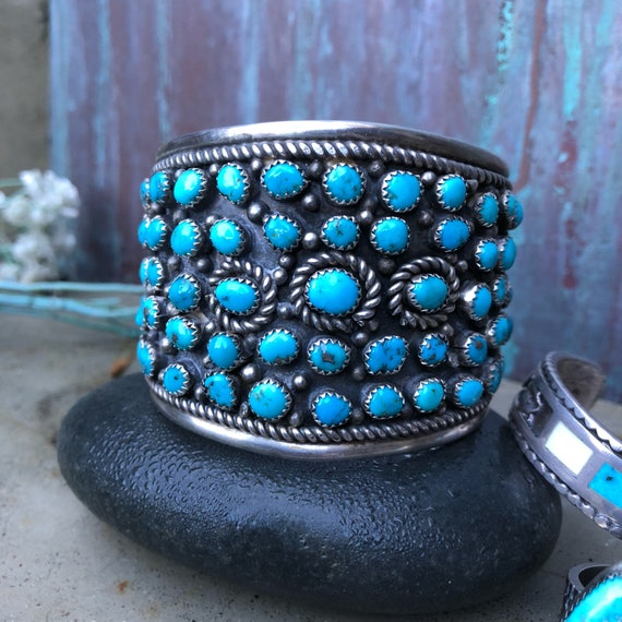 Vintage Navajo turquoise and sterling cluster cuff medium to larger wrist size