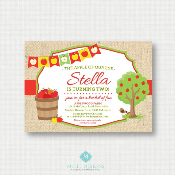 Apple Birthday Invitation -  Apple Party Invitation - Apple Invitation - Apple of our Eye - Apple Theme - Apple Picking - Digital Invitation