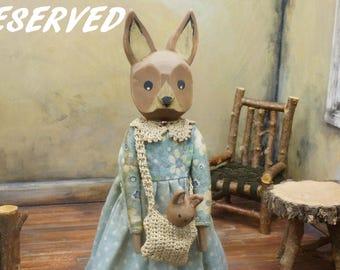 RESERVED Bunny Doll ~ Rabbit Doll ~ Primitive Rabbit ~ Wooden Rabbit ~ OOAK ~ Folk Art ~ Hitty Friend