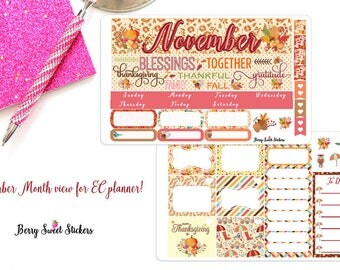 November Monthly kit, Planner Stickers, Fit for Erin Condren Life Planner, Planner Stickers, Monthly Layout, Month View stickers