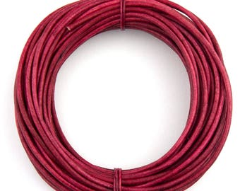 Pink Fuchsia Natural Dye  Round Leather Cord 1mm 25 meters (27.34 yards)