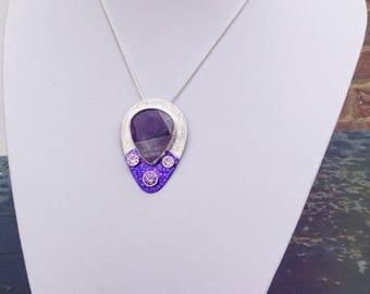 Banded Purple Agate Pear Pendant