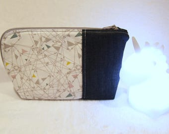 Vanity case in cotton denim and white
