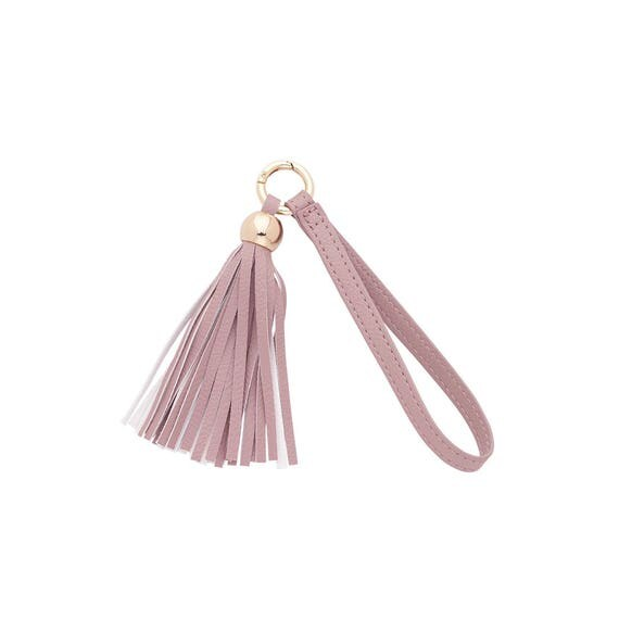 blush tassel keychain vegan leather keychain accessory boho keychain