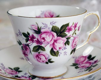 Queen Anne Small Pink Roses Teacup #8575
