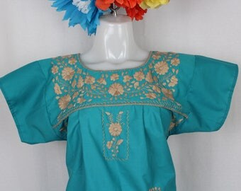 Mexican Embroidered Tunic -Embroidered by Hand- Teal (Small) BOHO Hippie- Handmade- Beautiful- Frida Kahlo- Kaftan