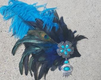 Blue Feather Headpiece