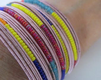 Vintage Bracelet, Multi Colored, Cuff Style, Pinks, Plastic, Statement Bracelet, Summer, Collectible Jewelry