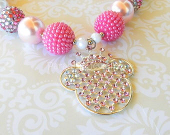 Pink Minnie Mouse Inspired Princess Bubblegum Necklace Minnie Birthday Chunky Beads Birthday Jewelry Disney Cruise Outfit Princess Minnie