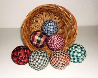 "7 Primitive  Rag Balls, 2 1/4"" diameter Homespun Fabric and prim Material Wrapped Primitive Decor, Bowl Filler PD4518"