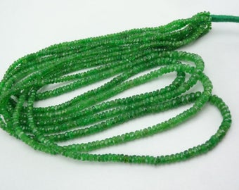 16-inch AAA Natural Tsavorite micro faceted rondelle beads 2-3.5mm 27cts GW5099