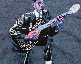 Hand Embroidered Patches Portraits B.B. King