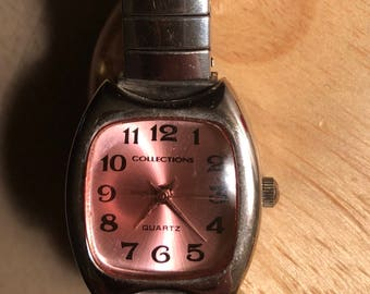 Ladies Vintage Watch, Pink Rose glass Face, Collections Watch, Quartz watch, Japan Movement,  Stainless Steel Wrist band, classic watches