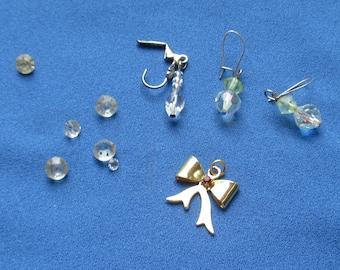 Lot Of Vintage Glass Beaded Earrings Loose Rhinestones Red Rhinestone Bow Pendant