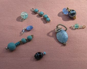Lot Of Retro Salvaged Blue Beaded Dangles