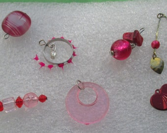 Lot Of Salvaged Pink & Mauve Colored Pendants Beaded Dangles