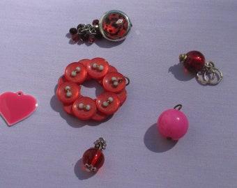 Lot Of Retro Salvaged   Red & Pink Pendants Beaded Dangles