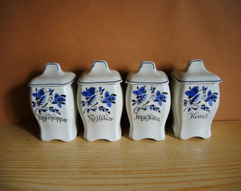 Set Of 4 Vintage Swedish Gefle Small Storage Containers With Lid / ELSA  Pattern / Ceramic