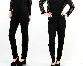 Vintage 90s Black Pants / High Waist Pants / Women Black Pants / Straight Leg Pants / Size M / L