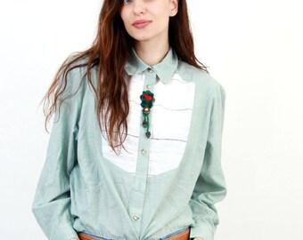 Vintage Folk Embroidered Blouse / Folk Blouse / Trachten Blouse / Folk Shirt /  Button Down Shirts / Women Shirts / Size XXL / XL