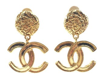 Chanel Vintage  24K Gold Plated CC Textured Clip on Earrings