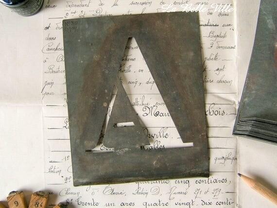 Large Zinc Letters Vintage French Alphabet Stencils Large Zinc Letters Metal