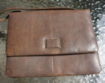 Vintage faux snake skin purse, handbag. 1960's retro bag/brown/ beige/ Made in England for Filene's/Inside pocket with original mirror