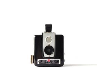 Vintage Film Camera Kodak Brownie Hawkeye Black Silver Photography Glass Lens Decor Kodak Brownie Cameras Metal Knob Flash Model 1951