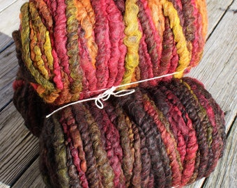 100% suri EMBERS mixed reds, oranges and black core spun rug yarn