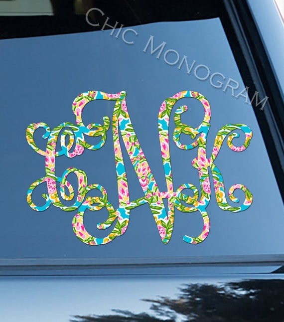 Monogram Car Decal Car Sticker Swimming Sea Turtles Car Decor Cute Car Accessories Lilly Car Decals Monogrammed Vinyl Decal For Yeti Preppy