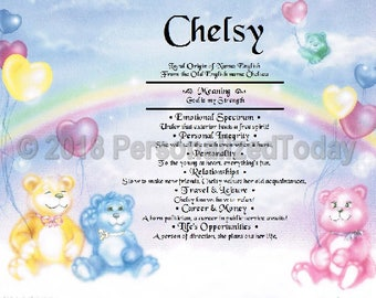 Teddybears Name Meaning Origin Print Name Personalized Certificate 8.5 x 11 Inches Customized With Any Name
